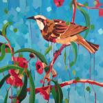 Tawny Crowned Honeyeater, 46cm sq Acrylic on canvas, SOLD