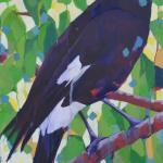 Currawong, 61x30cm Acrylic on Canvas, framed, $650