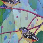 Pardalote Valentine, 61x30cm Acrylic on Canvas, framed, SOLD
