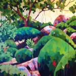 Cowra Japanese Garden, 92cm sq Acrylic on Canvas, Framed, $1800